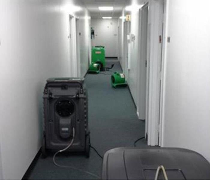 Water damage clean up in an office building After