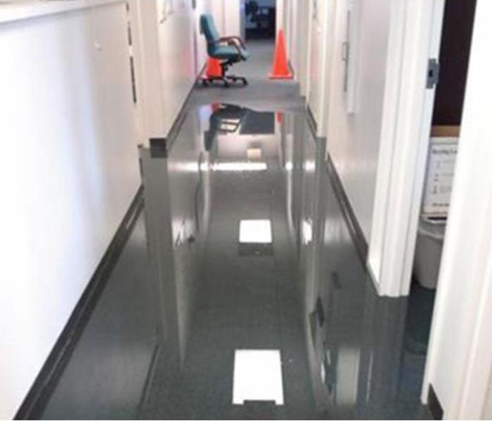Water damage clean up in an office building Before