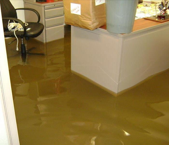 Office flooded by water damage