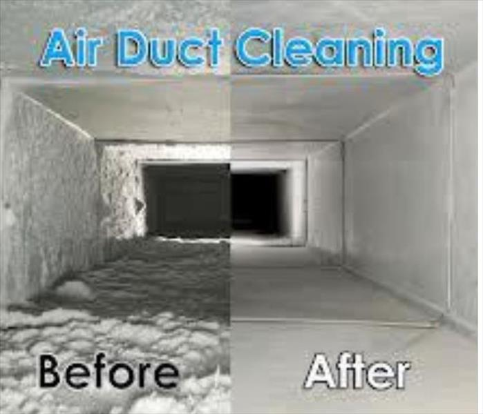 Cleaned air ducts before and after